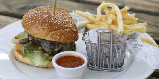 MUST-CHUP with burger and chips