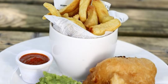 MUST-CHUP with fish and chips