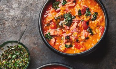 ham hock and red lentil healthy soup